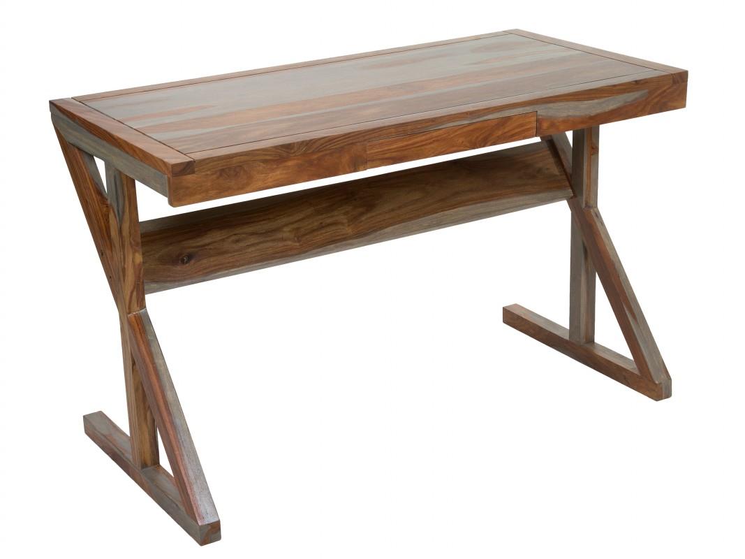 Escritorio colonial envejecido de madera de s samo color nogal - Mesa escritorio colonial ...