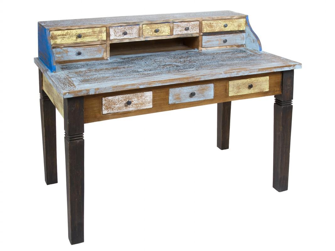 Escritorio colores industrial de madera decapada de mahogany - Escritorio vintage ...