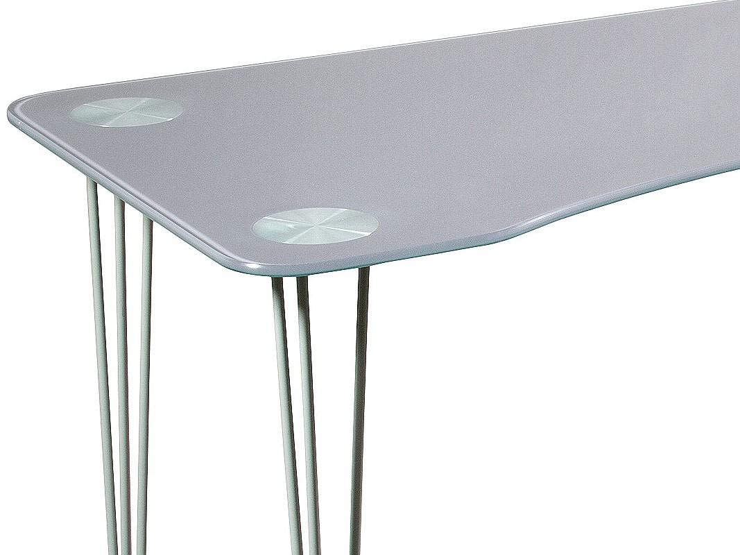 Mesa escritorio moderna de cristal y cromo ergon mica - Mesa escritorio cristal ...