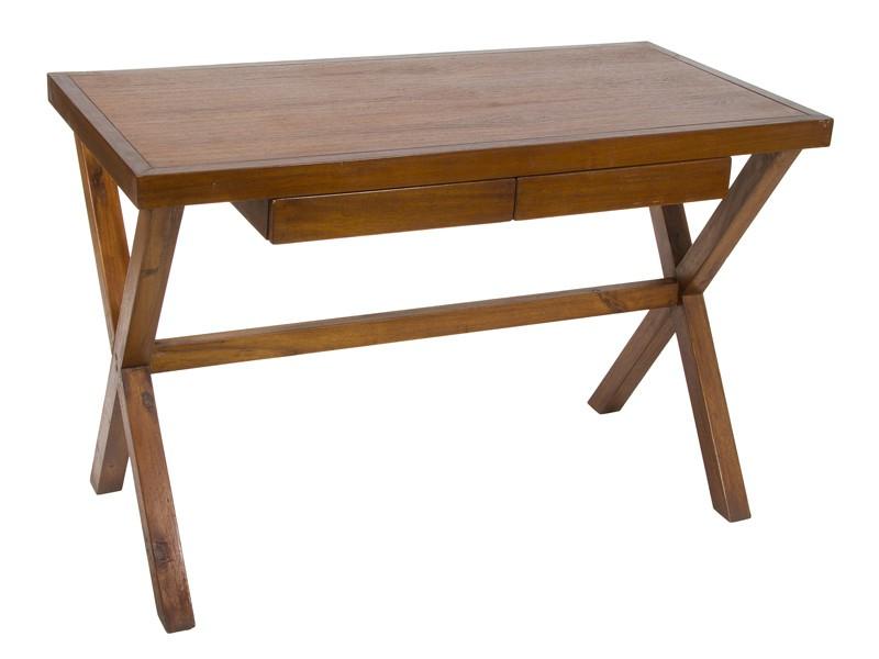 Escritorio colonial de madera de acacia color nogal - Mesa escritorio colonial ...