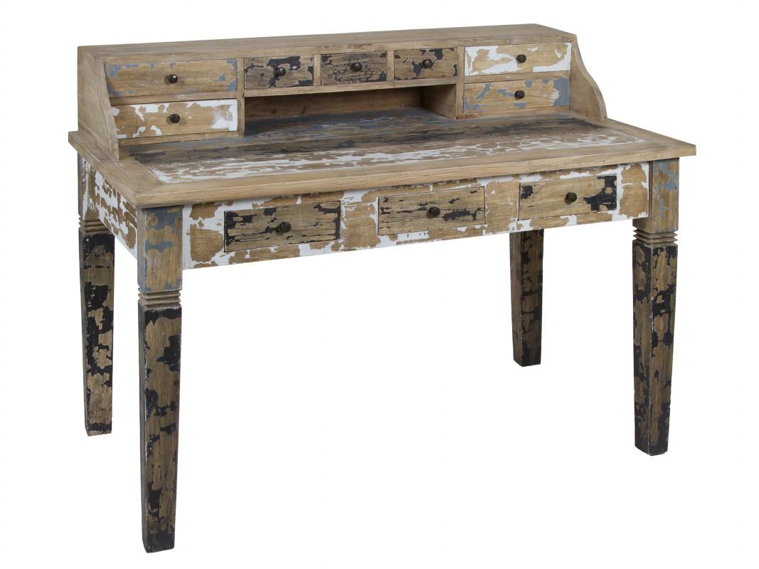 Escritorio decapado estilo industrial de madera de mindi - Escritorio vintage ...