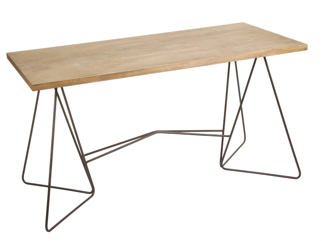 Escritorio industrial de hierro forjado y madera de abeto - Patas de forja para mesas ...