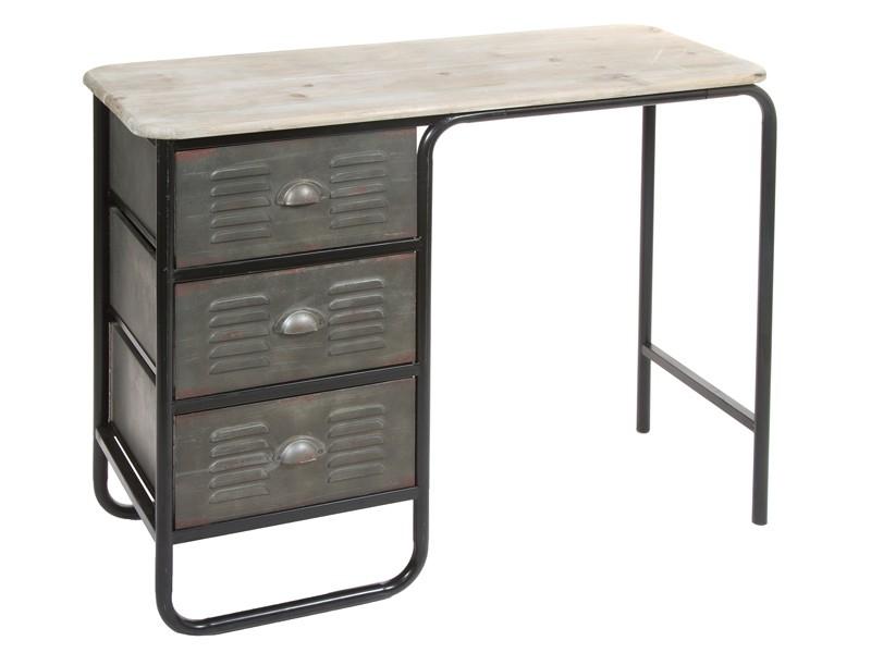 escritorio industrial de metal y madera con 3 cajones On escritorio de metal de estilo industrial