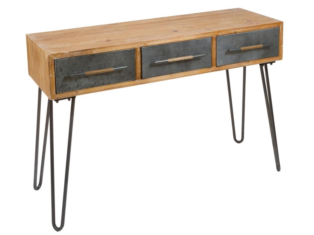 Escritorio estrecho hierro y abeto industrial escritorio Mesas industriales vintage