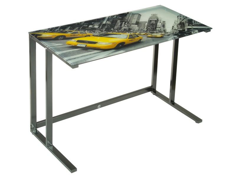 Mesa escritorio juvenil estilo moderno nueva york - Mesa de estudio de cristal ...