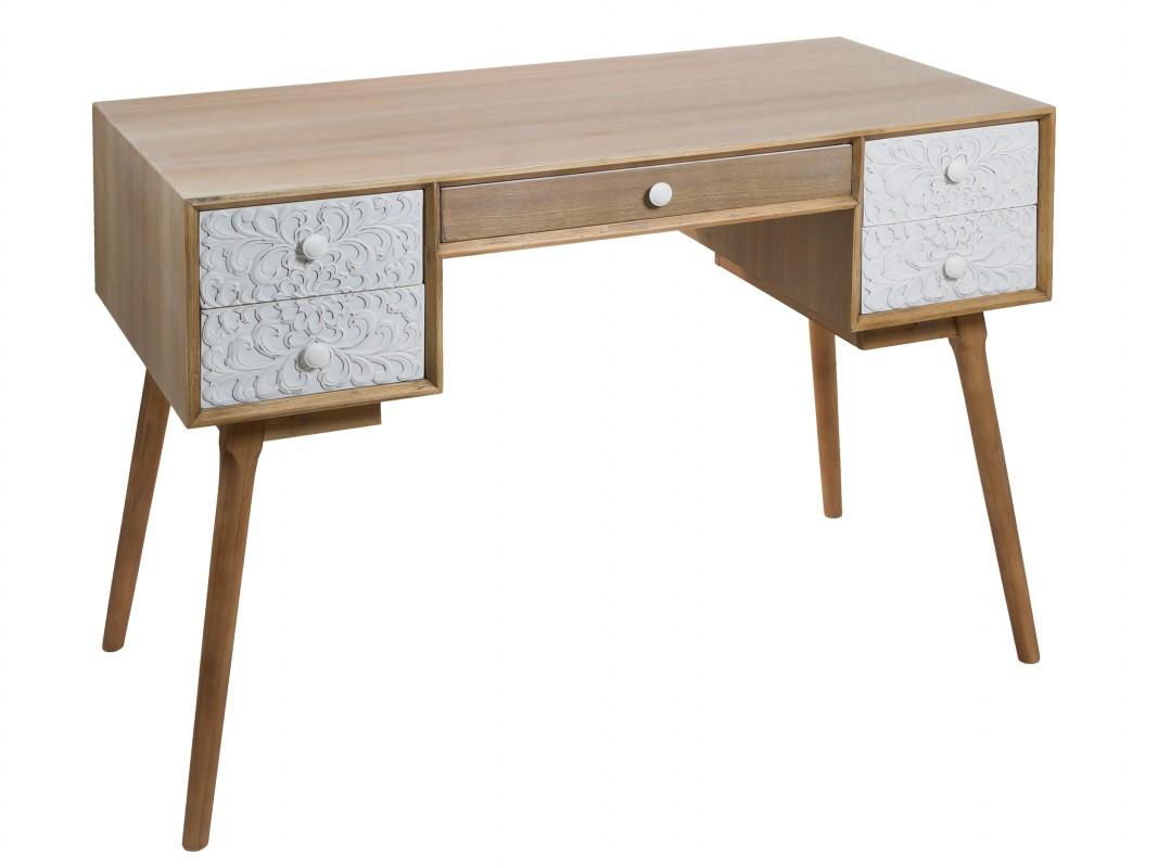 Escritorio vintage escandinavo roble y blanco de madera de - Escritorio de pino ...