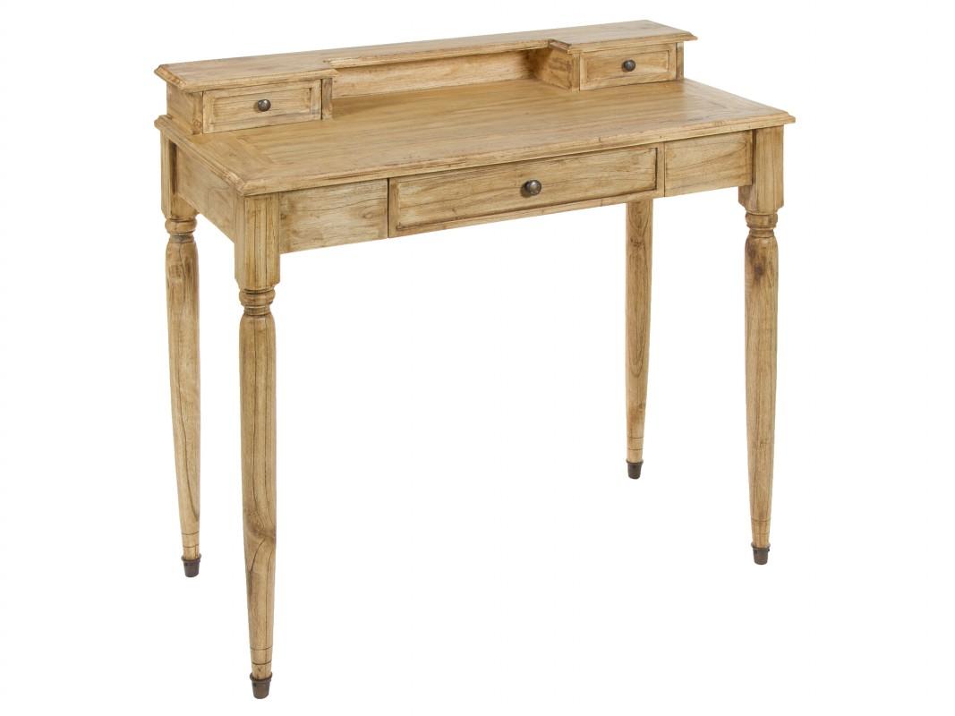 Mesa de escritorio r stica estilo cl sico en madera de acacia - Escritorios rusticos de madera ...