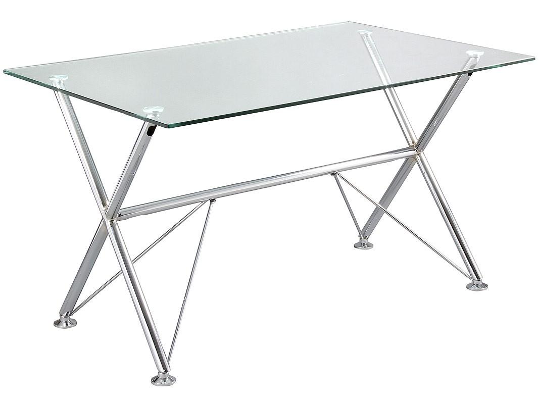 Escritorio rectangular de cristal y cromo de 125 cm - Mesas escritorio de cristal ...