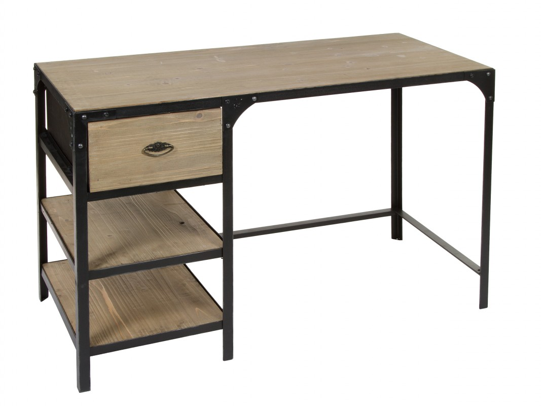 Escritorio industrial vintage de hierro y madera de abeto for Muebles de hierro y madera