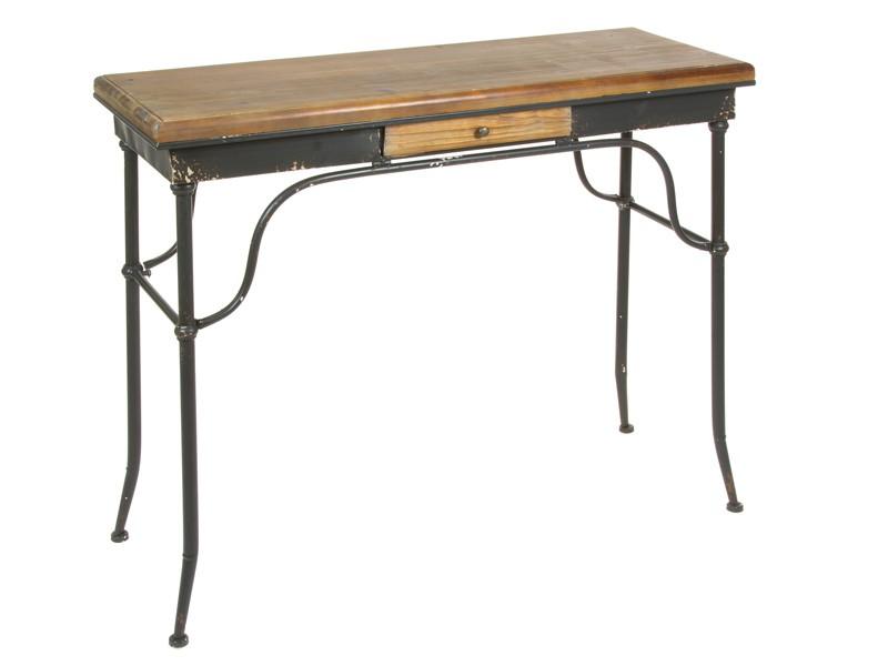 Escritorio industrial cl sico de hierro y madera de abeto for Escritorio industrial vintage