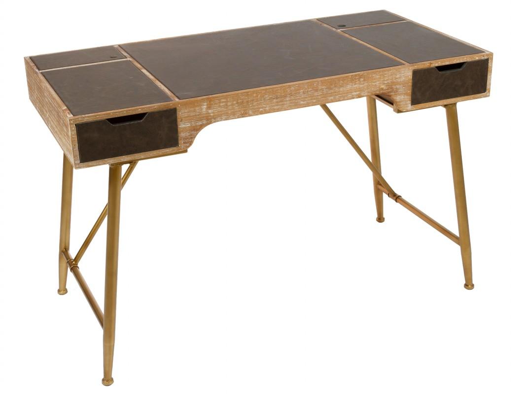 Mesa escritorio tapizada estilo vintage de madera con patas de hierro - Mesa escritorio madera ...