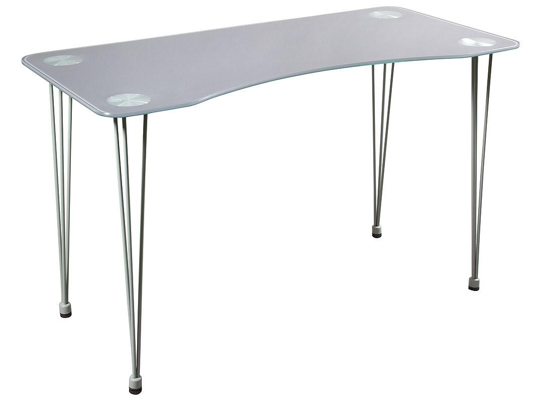 Mesa escritorio moderna de cristal y cromo ergon mica for Mesa escritorio cristal