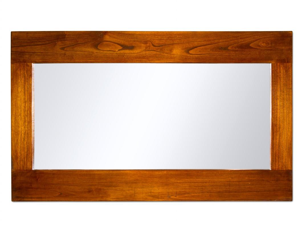 Espejo con marco de madera alargado estilo colonial for Espejo rectangular con marco de madera