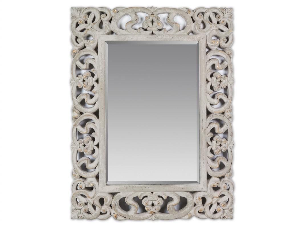 Espejo arabesco decapado con cristal biselado espejos online for Espejos grandes para recibidor