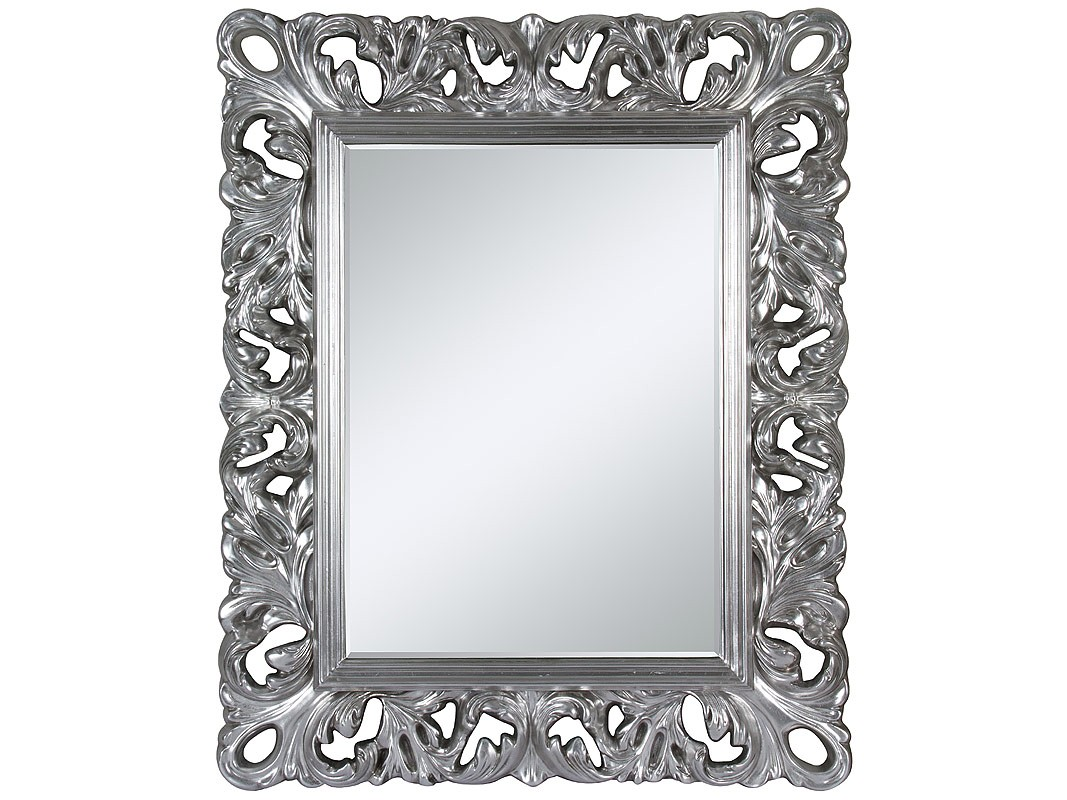espejo barroco con marco plateado seorial - Espejos Plateados