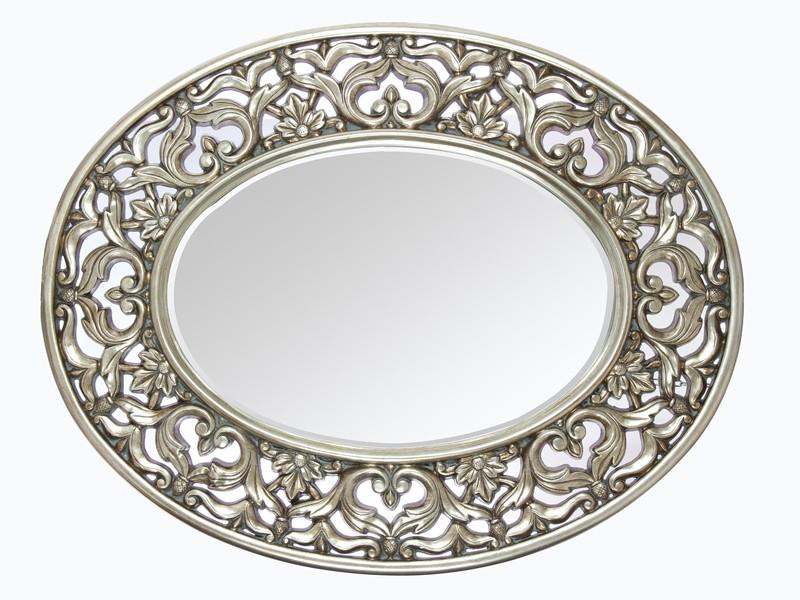 Espejo barroco plateado ovalado espejos decoraci n for Espejos para pared grandes sin marco