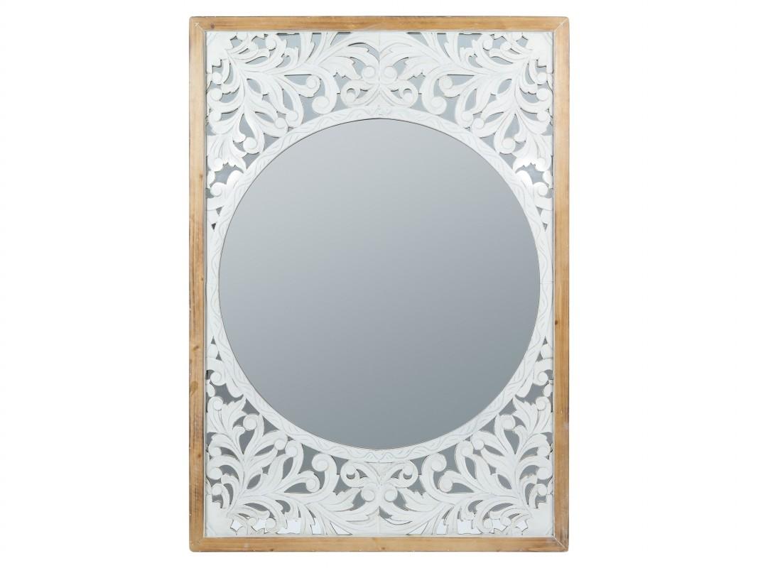 Espejo calado vintage de madera envejecida blanco y natural for Espejo madera envejecida