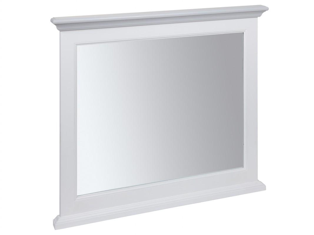 Espejo cl sico blanco y gris de madera con acabado envejecido for Espejo marco gris
