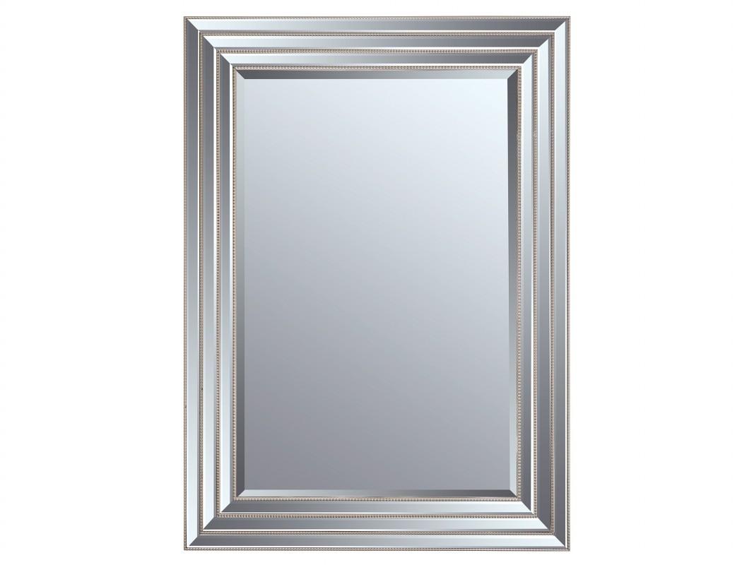 Espejo con marco biselado plata espejo con cordon decorado for Espejo de pie plateado