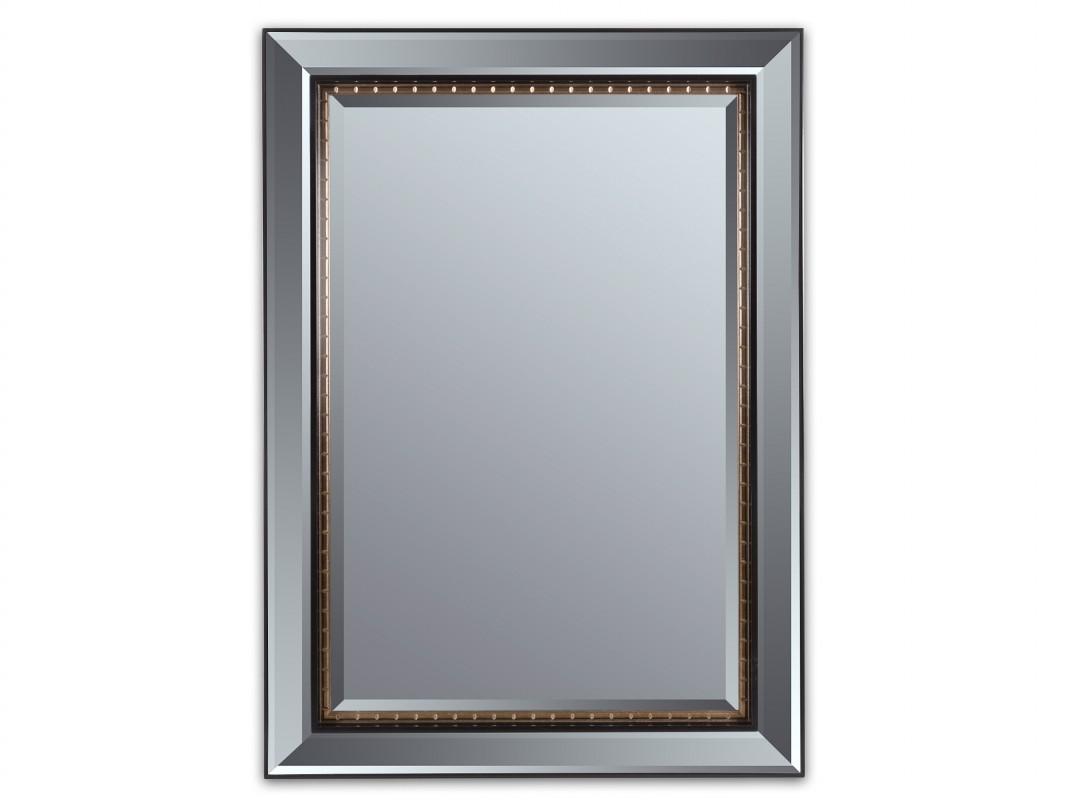 espejo biselado con marco de aluminio negro y dorado