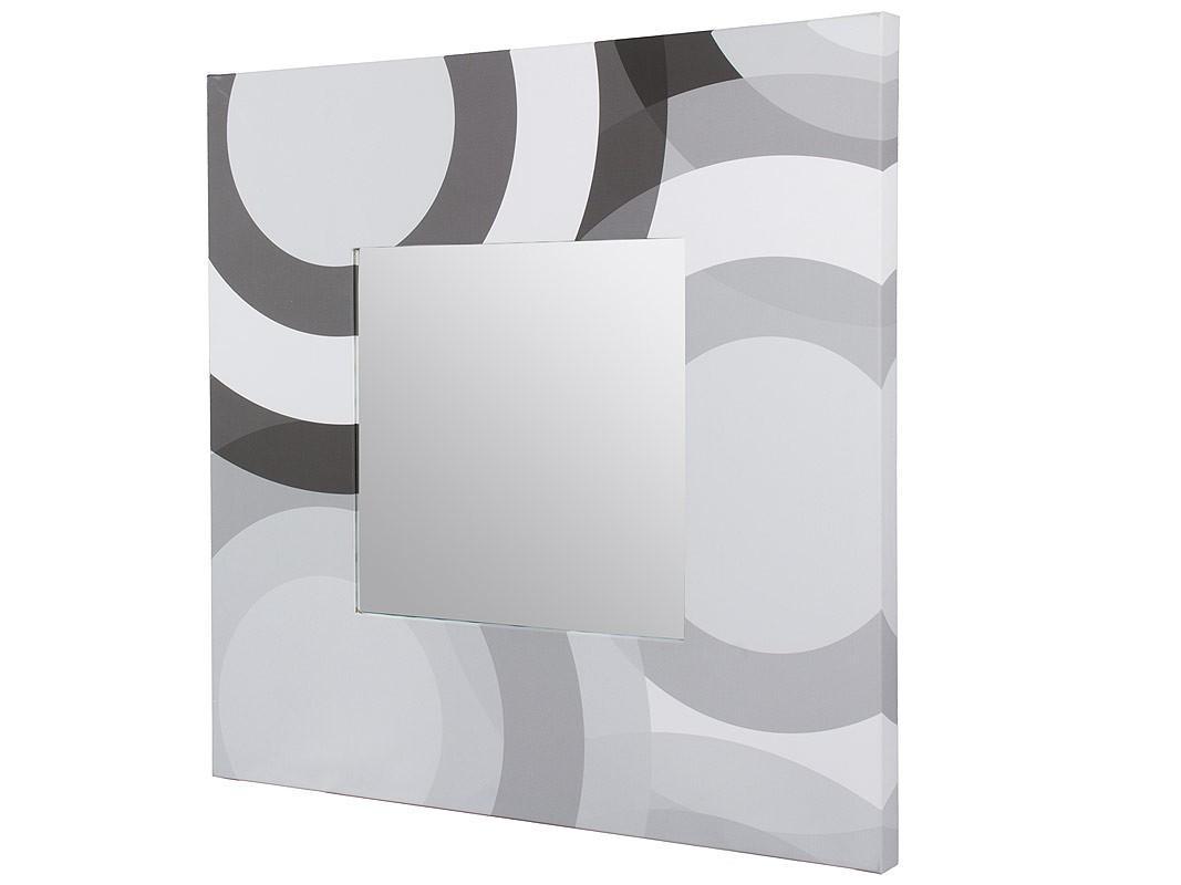 Espejo cuadrado con marco estampado diseño círculos