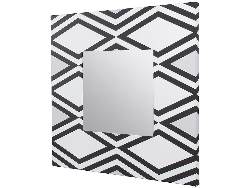 Espejo cuadrado con marco decorado con rombos blanco y negro