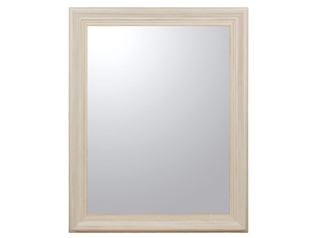 espejo blanco decapado con marco de madera de pino