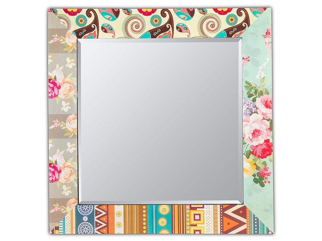 espejo decorativo cuadrado con flores y adornos multicolor