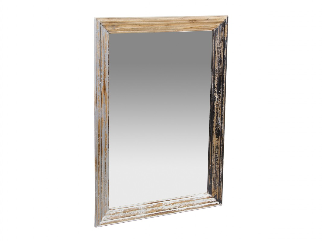 Espejo envejecido de madera estilo vintage espejos vintage for Espejo blanco envejecido