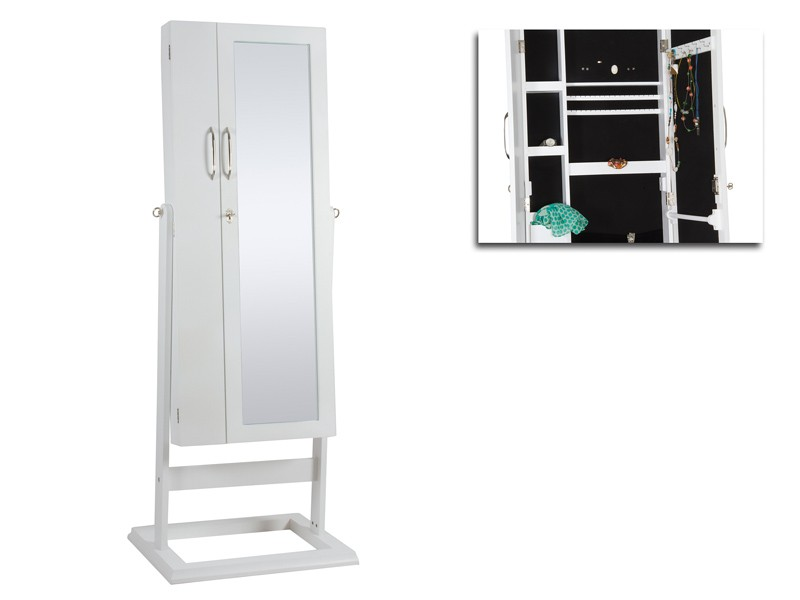 mueble joyero blanco con espejo de cuerpo entero