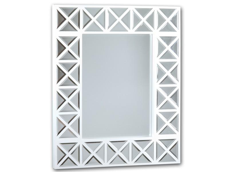 Espejo con marco blanco de crucetas de madera venta online for Espejos con marco de madera blanco