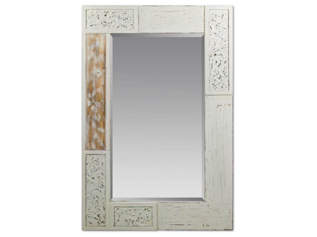 Espejo cl sico blanco con marco decorado de madera de for Espejos con marco de madera decorados