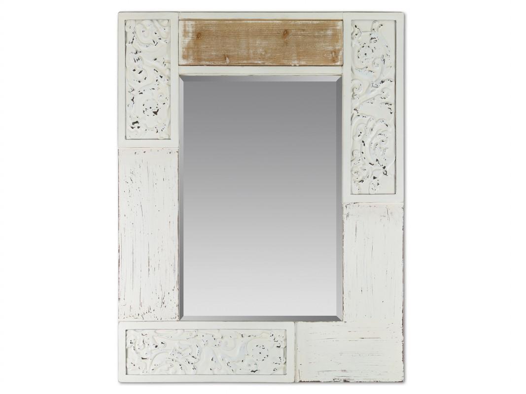 Espejo vintage blanco decapado de madera de abeto y dm for Espejo largo pared