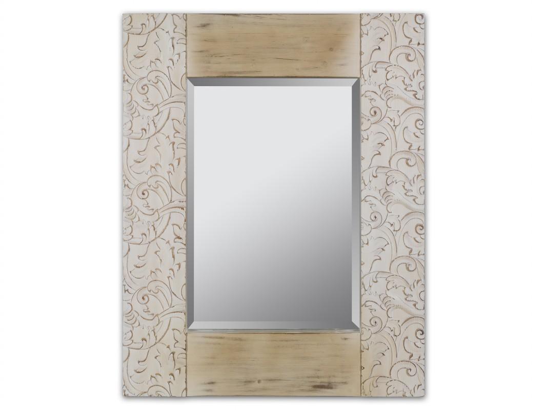 Espejo vintage marco de madera tallado con motivos florales for Modelos de espejos con marcos de madera