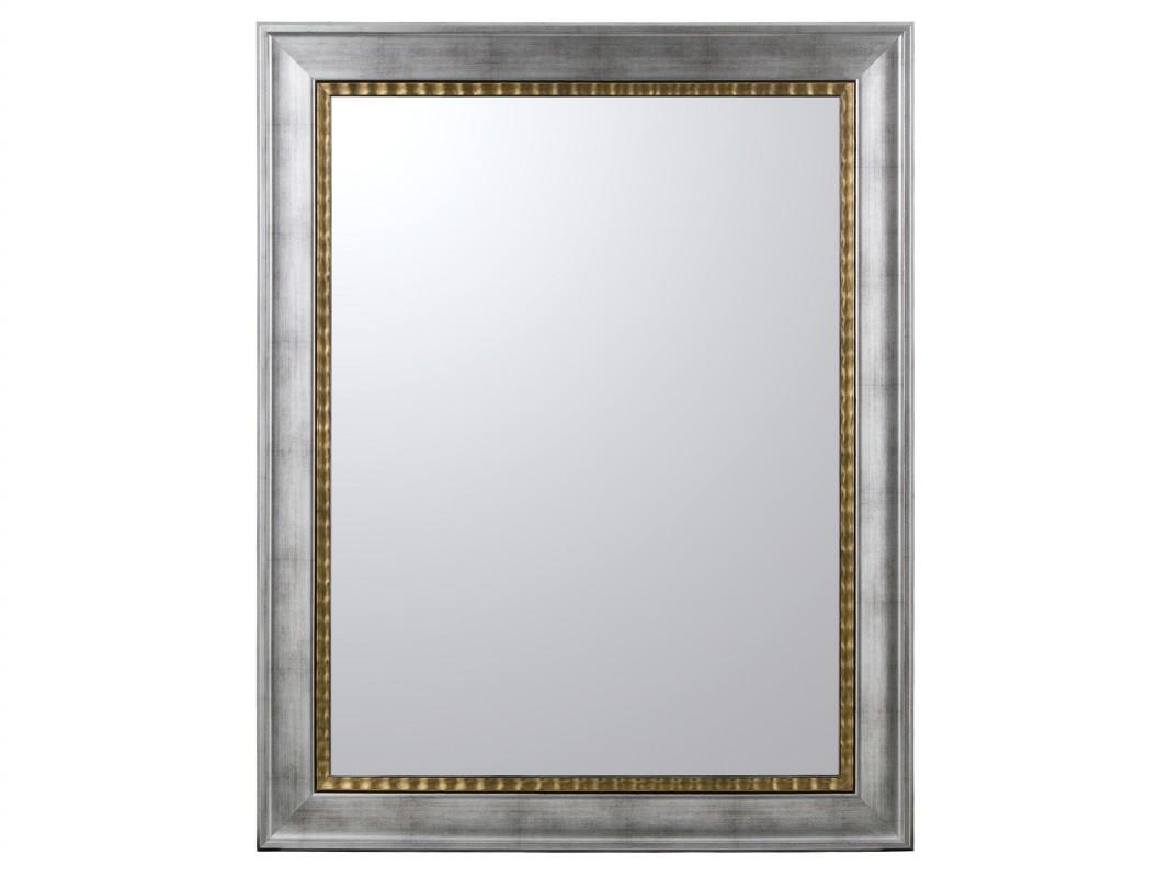 espejo con marco lacado plateado y dorado de madera de pino