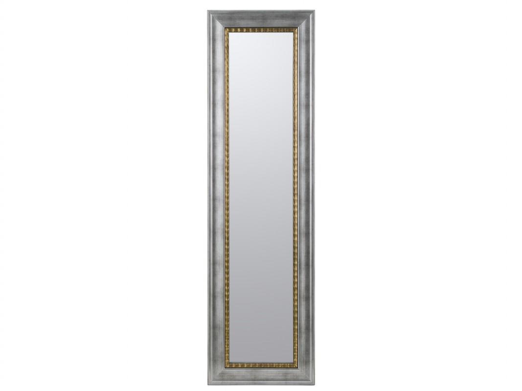 Espejo vertical de pino color plata con filo de oro for Espejos con marco plateado