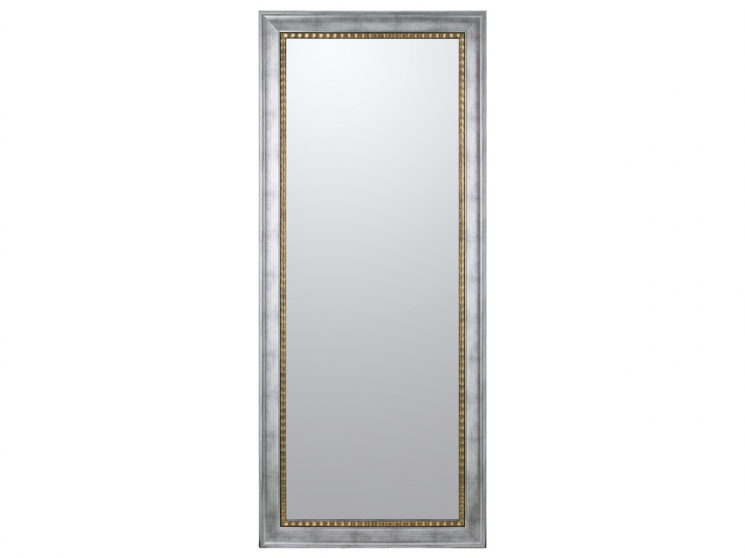 Espejo vestidor plata con filo dorado de madera de pino lacada for Espejo rectangular plateado