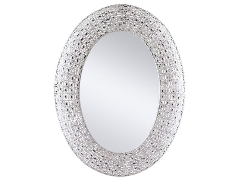 Espejo ovalado con marco de metal blanco envejecido for Espejo blanco envejecido