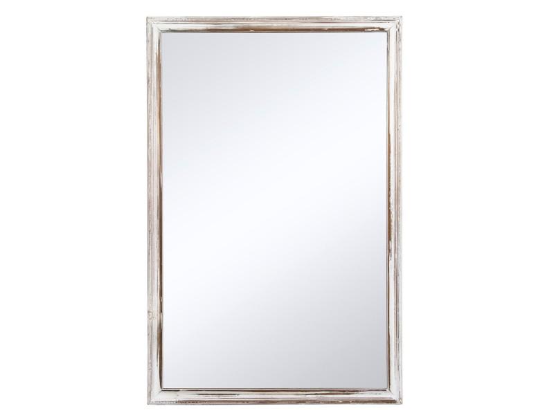 Espejo pintado de madera en blanco estilo vintage for Espejo largo pared