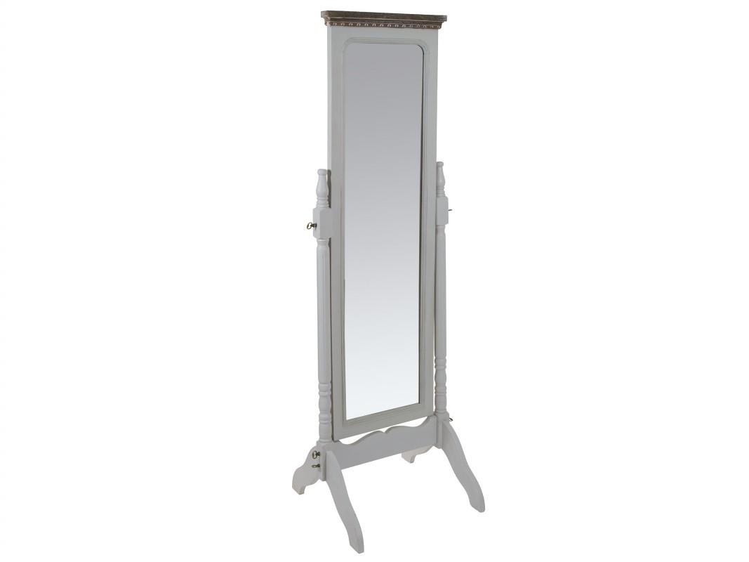 Espejo de pie vintage de madera de paulownia decapada for Espejo pie madera