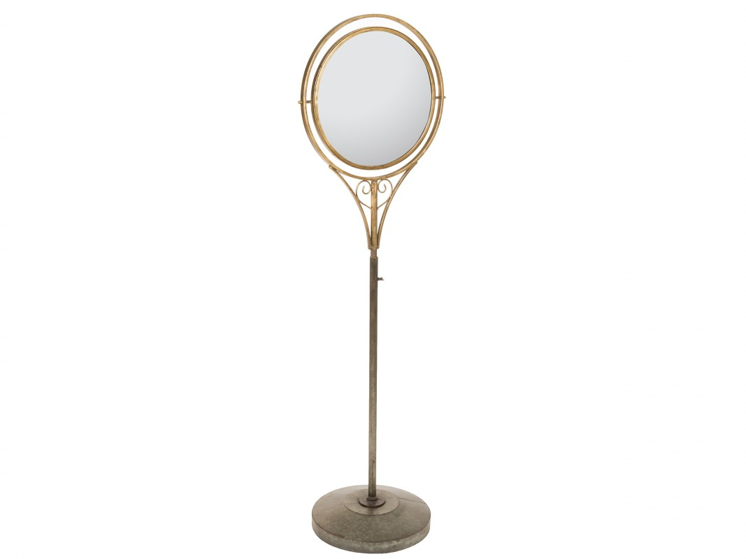 Espejo con pie vintage con cristal regulable - Espejo tocador de pie