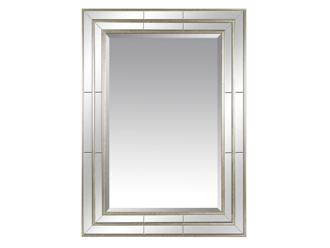 Espejo plata vintage con triple marco de aluminio for Espejos color plata