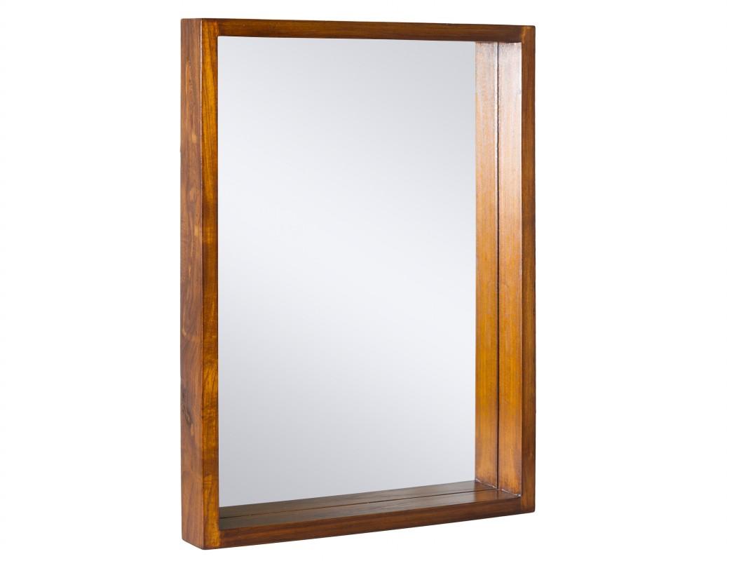 Espejo rectangular con marco de madera de acacia