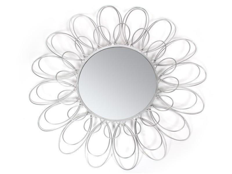 Espejo redondo flor de metal color plata - Espejos color plata ...
