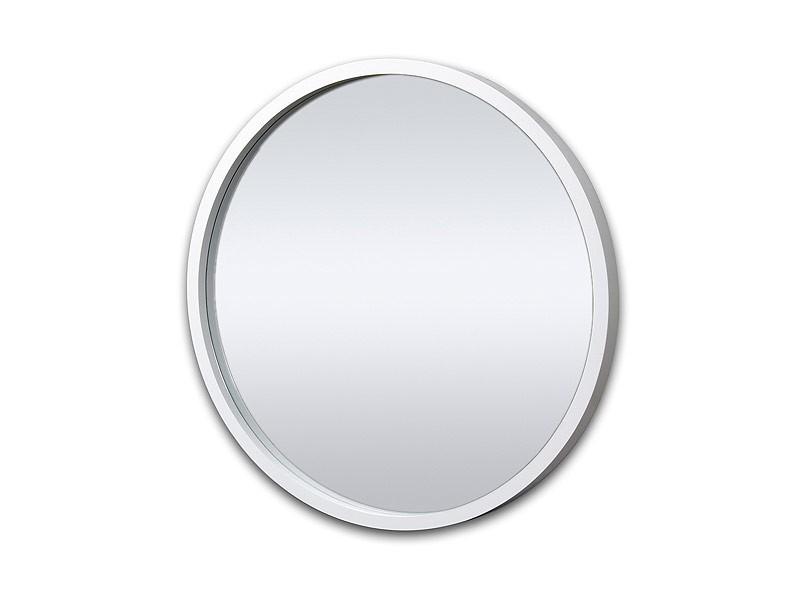 espejo de forma redonda con marco de madera liso