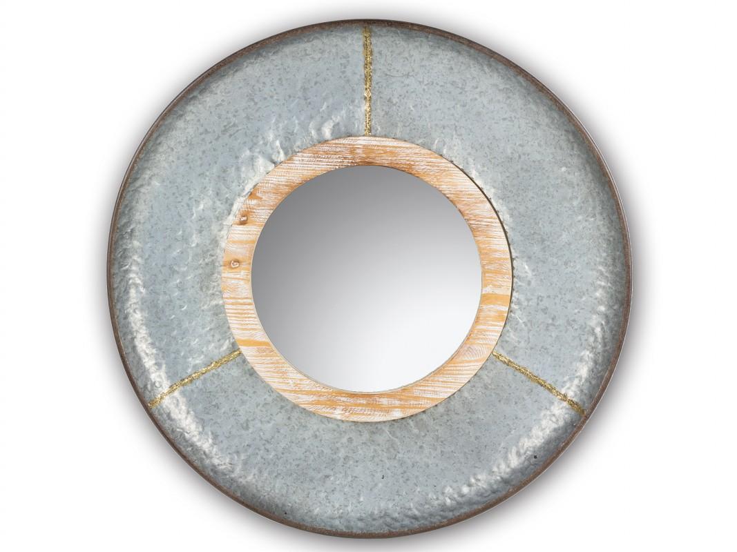 Espejo redondo industrial de metal y madera con acabado envejecido