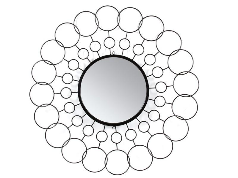 Espejo redondo de diseño círculos con marco de hierro