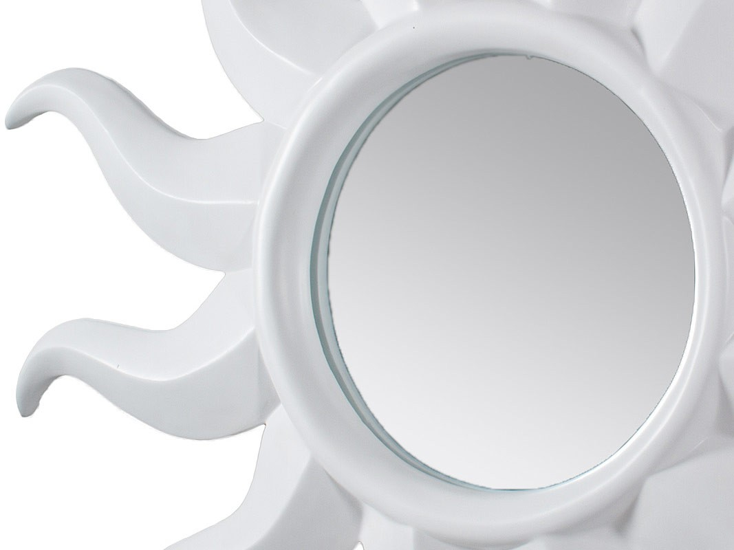 Espejo sol blanco de pared grande 116x116 cm for Espejo ovalado blanco