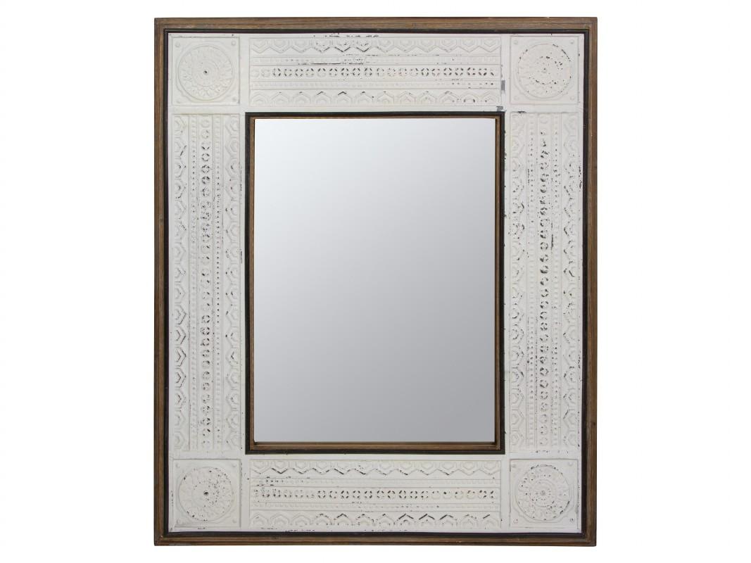 Espejo de madera blanco envejecido y marr n for Espejo blanco envejecido