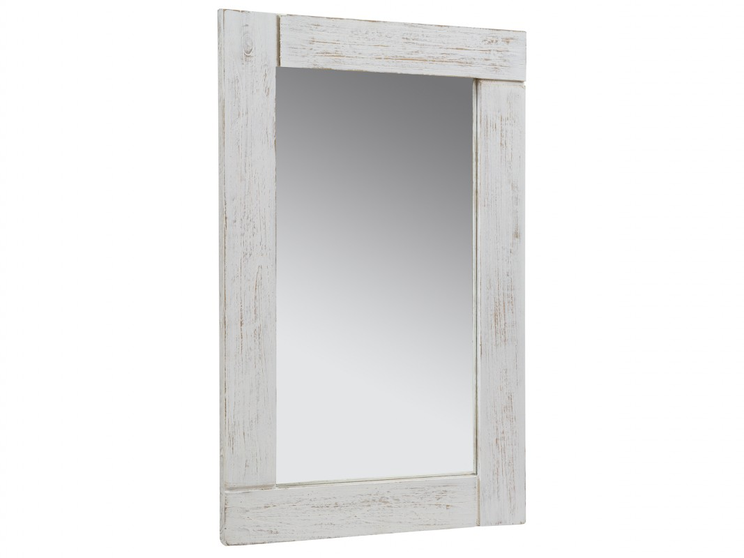 Espejo blanco vintage de madera decapada espejo blanco tiza for Espejos grandes para salon